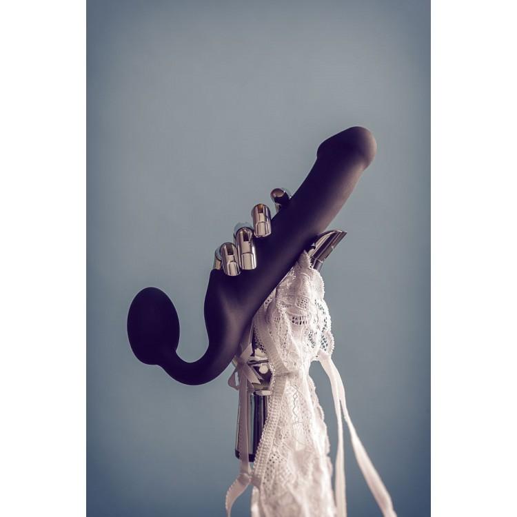 Черный безремневой страпон Silicone Bendable Strap-On L