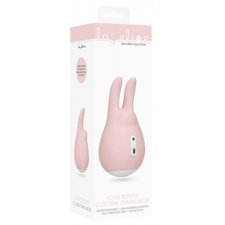 Розовый клиторальный стимулятор Love Bunny - 9,4 см.