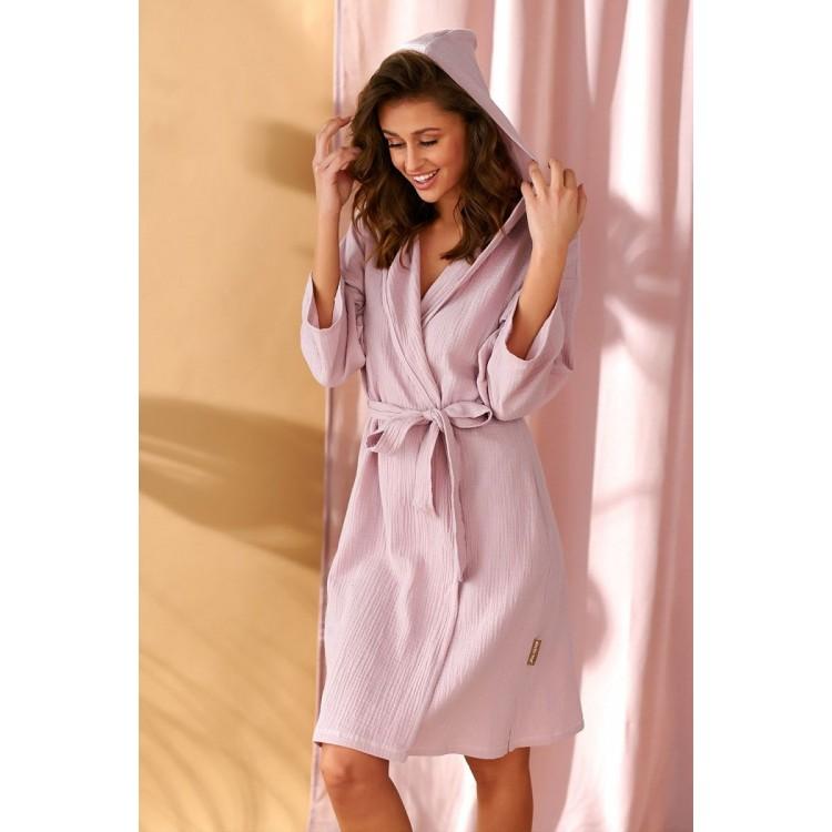 Элегантный короткий женский халат-кимоно