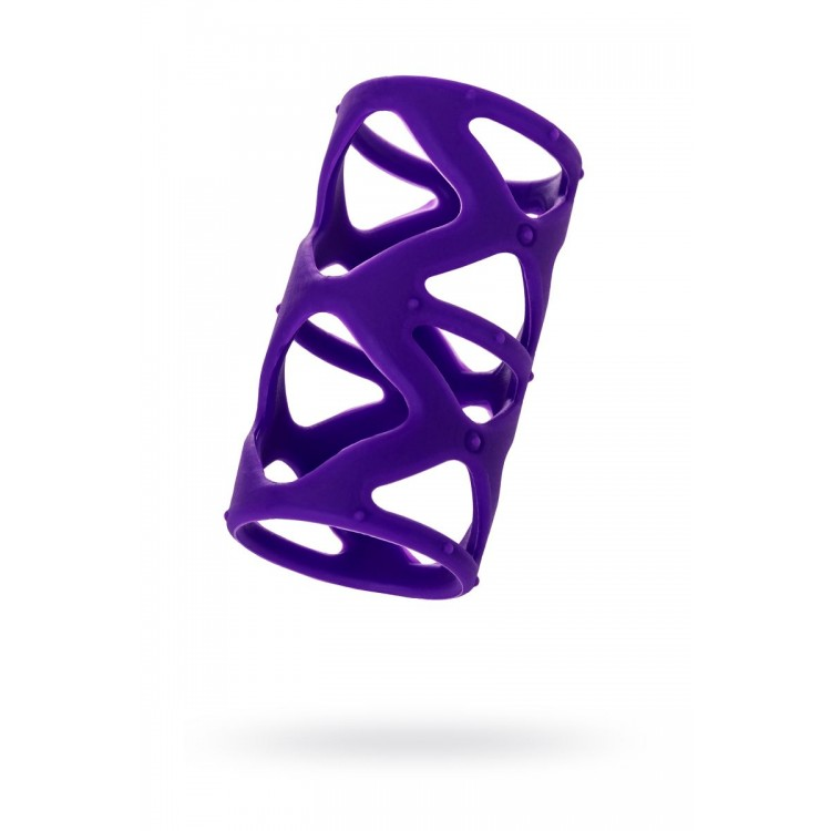 Фиолетовая насадка-сетка на пенис - 7,5 см.