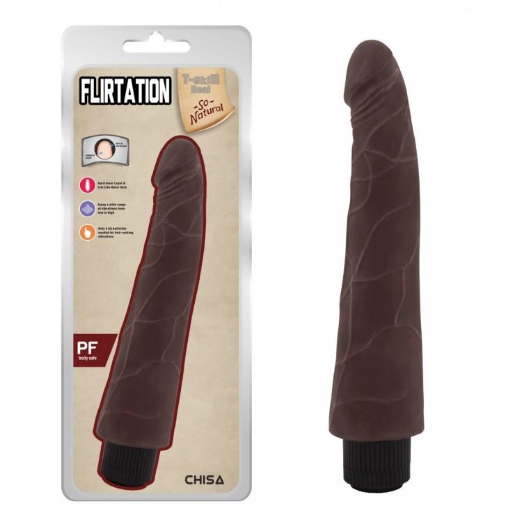 Коричневый вибратор-реалистик Flirtation - 24 см.