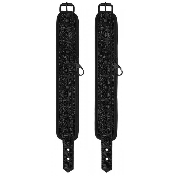 Черные наручники и наножники Luxury Hogtie