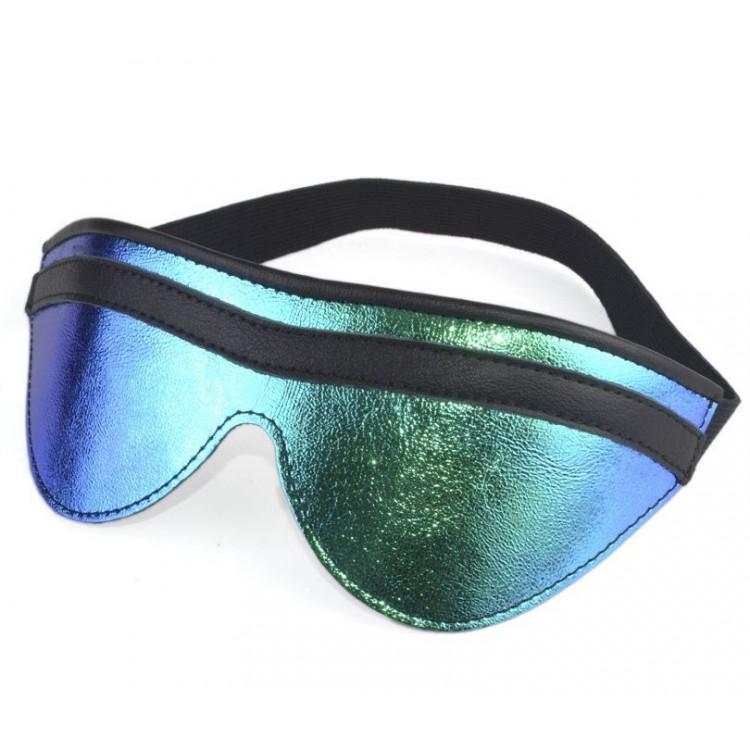Сине-черная маска на глаза с фиксирующей резинкой