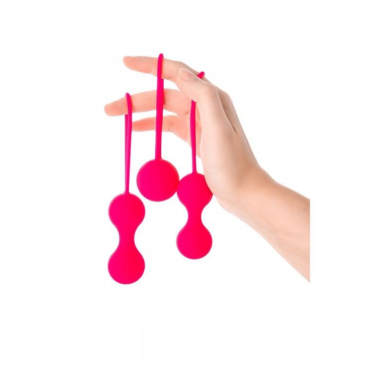 Набор из 3 розовых вагинальных шариков со шнурком
