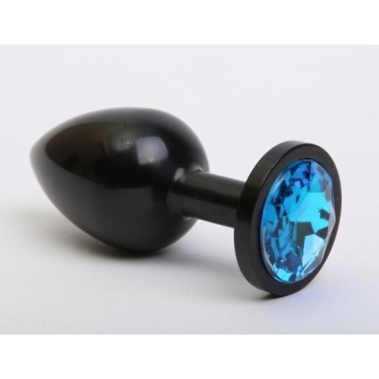 Чёрная анальная пробка с голубым стразом - 7,6 см.
