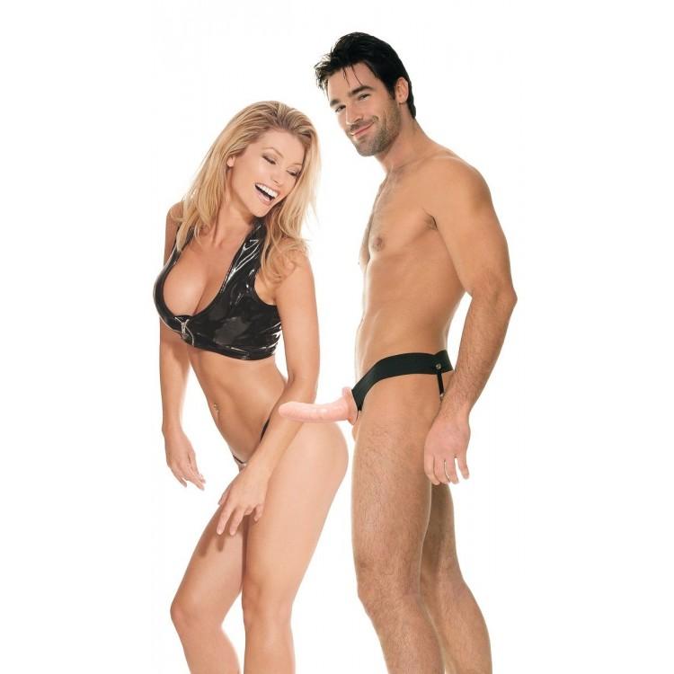 Полый страпон унисекс телесного цвета For Him or Her ?Hollow Strap-On - 15 см.