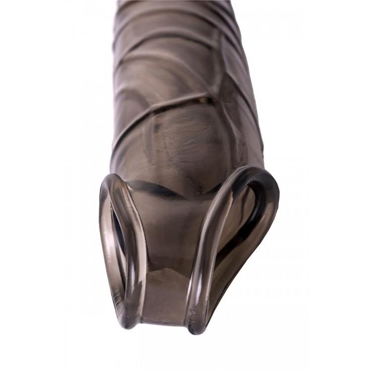 Дымчатая фаллическая насадка с подхватом и закрытой головкой - 16,2 см.