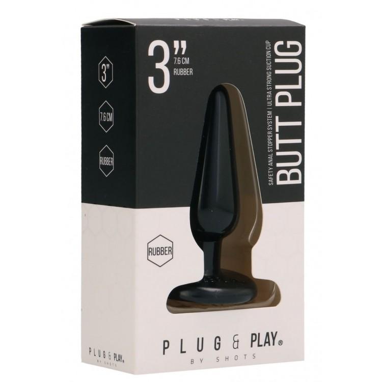 Черная коническая анальная пробка Basic 3 Inch - 7,6 см.